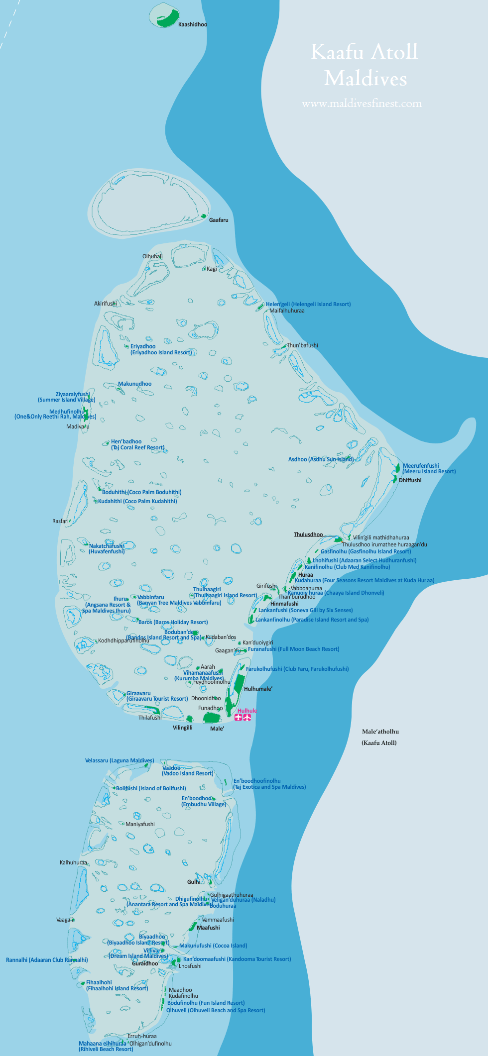 Maldives Map With Resorts Airports And Local Islands 2019 - Us-map-with-airport-codes
