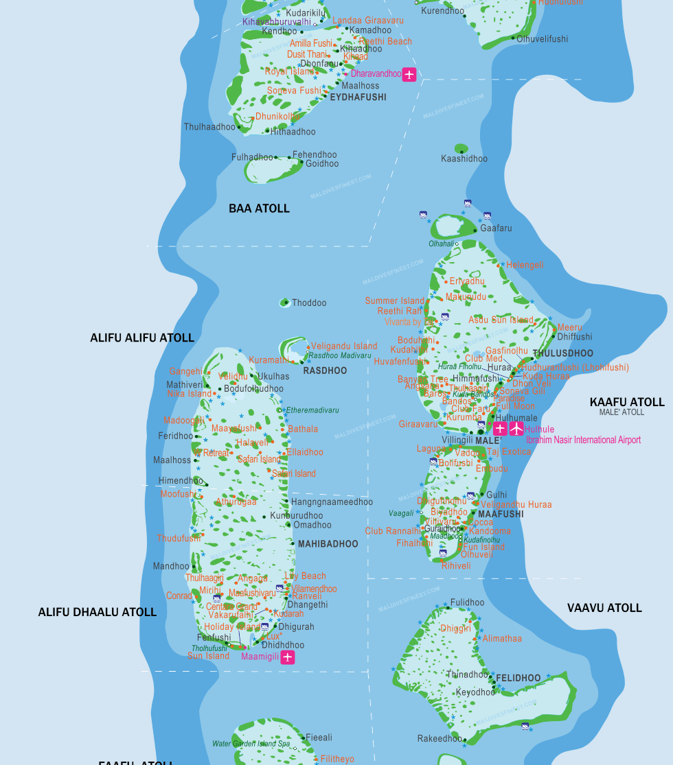 Maldives map with resorts airports and local islands 2018 maldives map maldives islands map gumiabroncs Choice Image