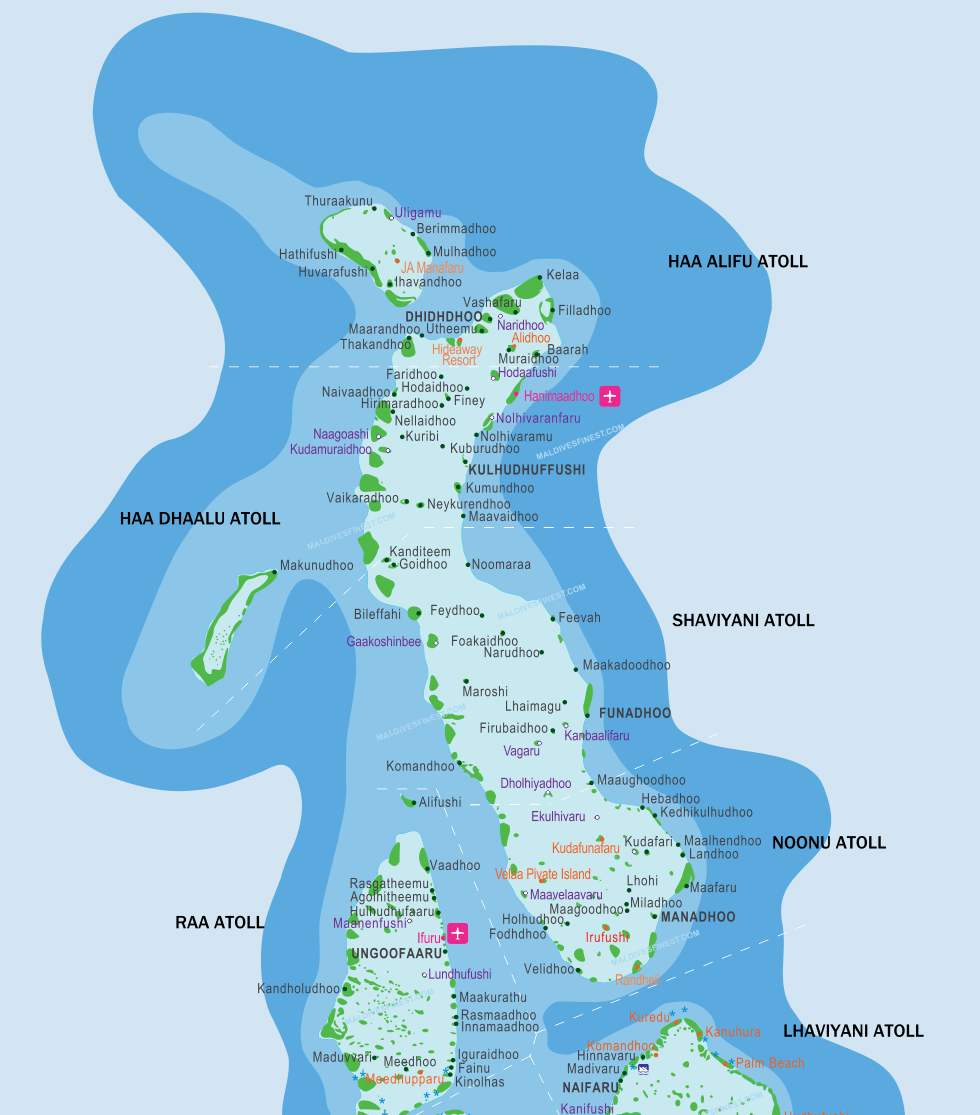Maldives map with resorts airports and local islands 2018 maldives map maldives islands map maldives location publicscrutiny Gallery