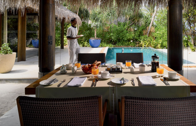 Velaa Private Island beach pool villa dining