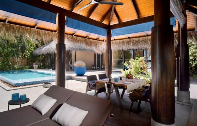 deluxe beach pool villa exterior