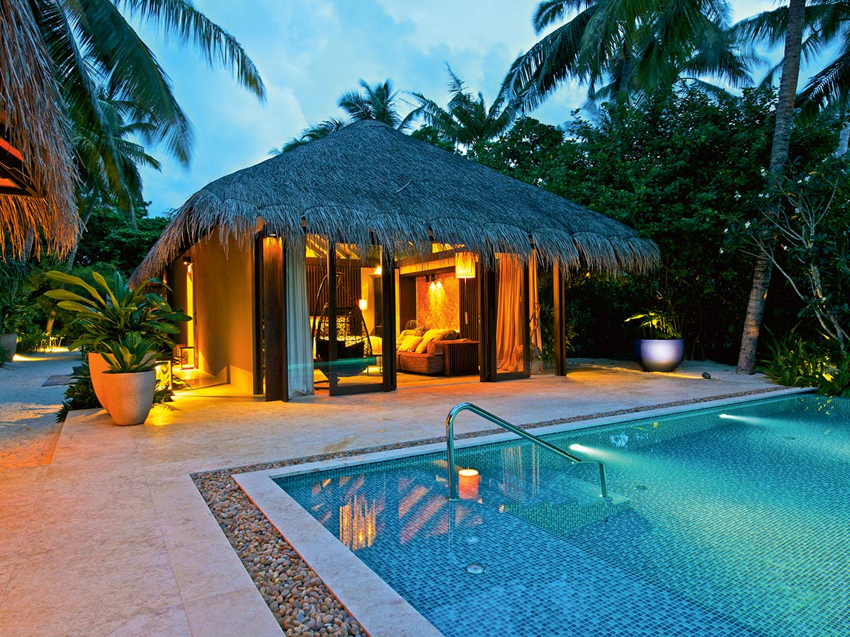 velaa private island beach pool villa