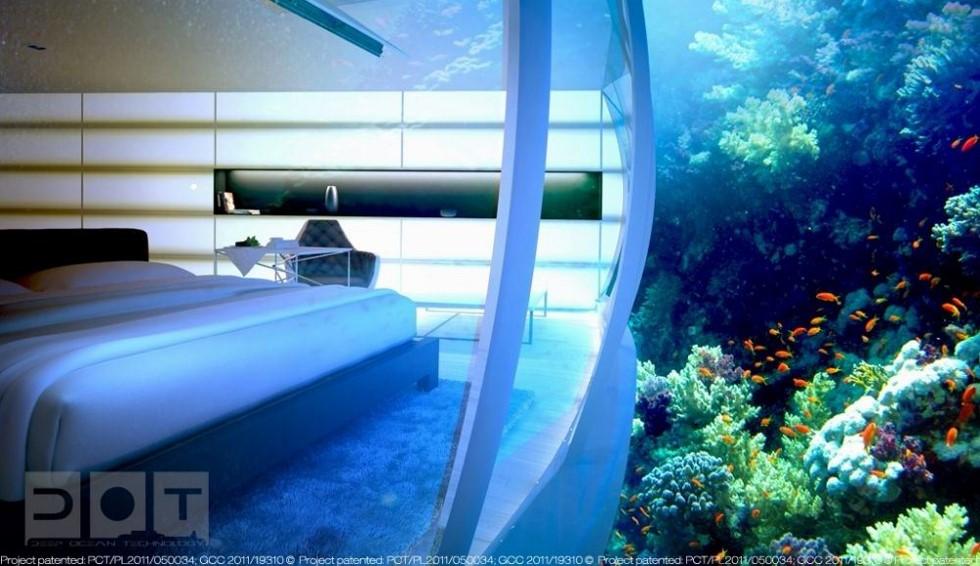 underwater hotel bedroom