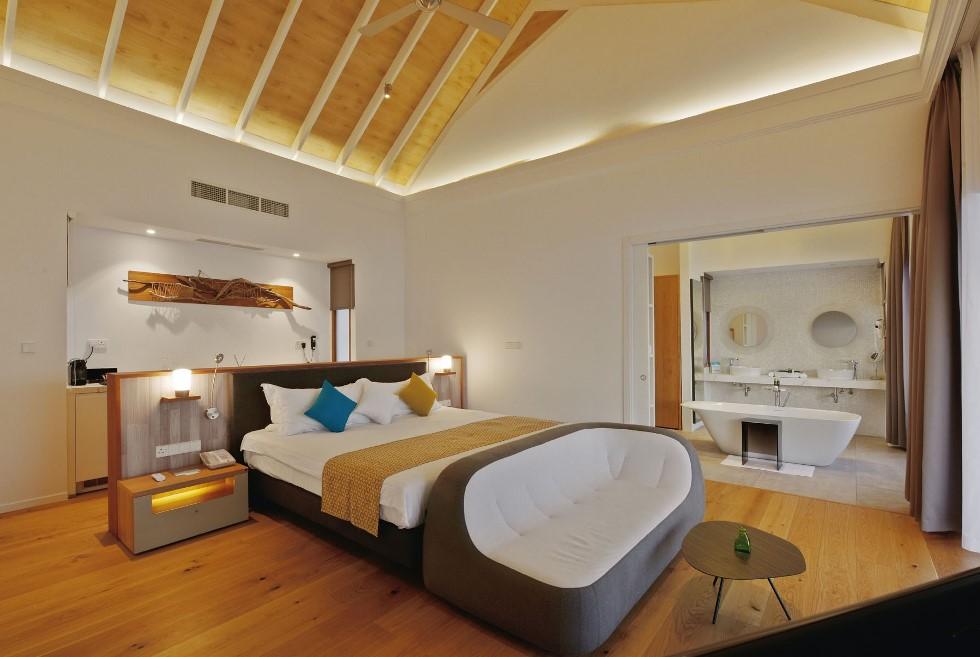 sunset water villa bedroom