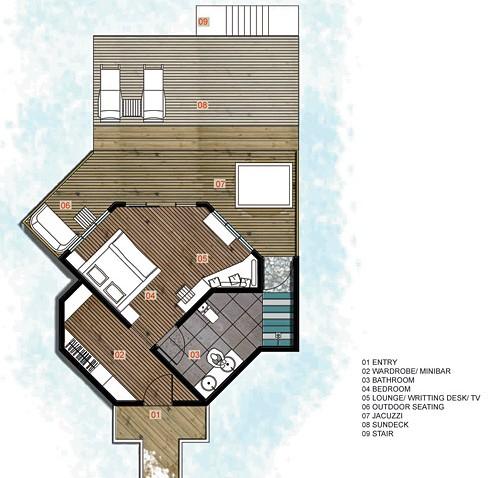 water villa with jacuzzi floor plan