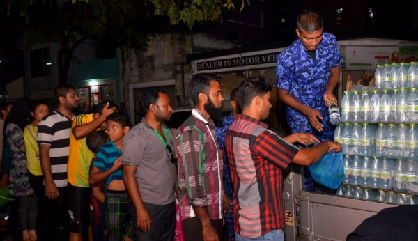water distribution by police