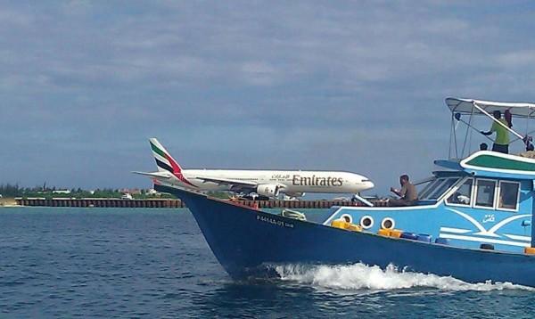 Emirates airline land on fishing boat