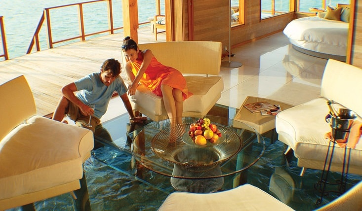 conrad maldives glass floor water villa