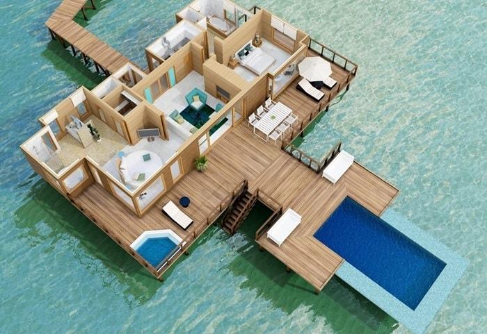 conrad maldives sunset water villa map