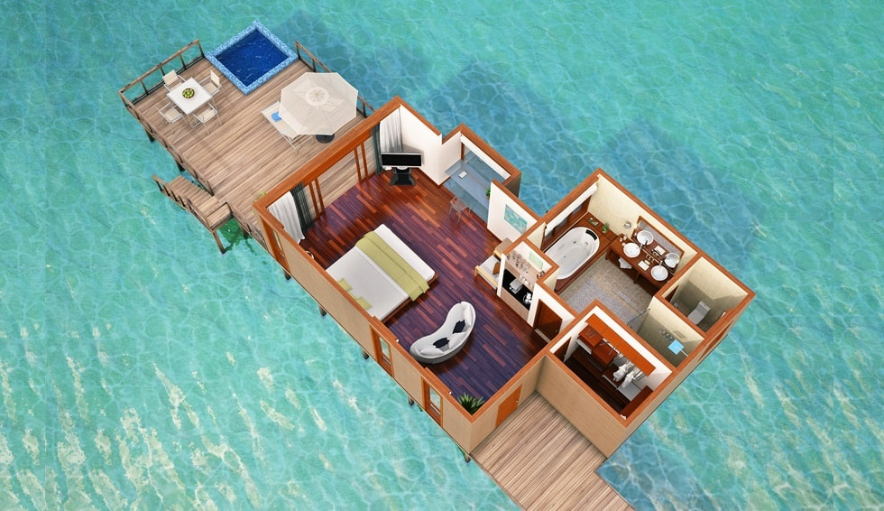 conrad maldives water villa floor plan