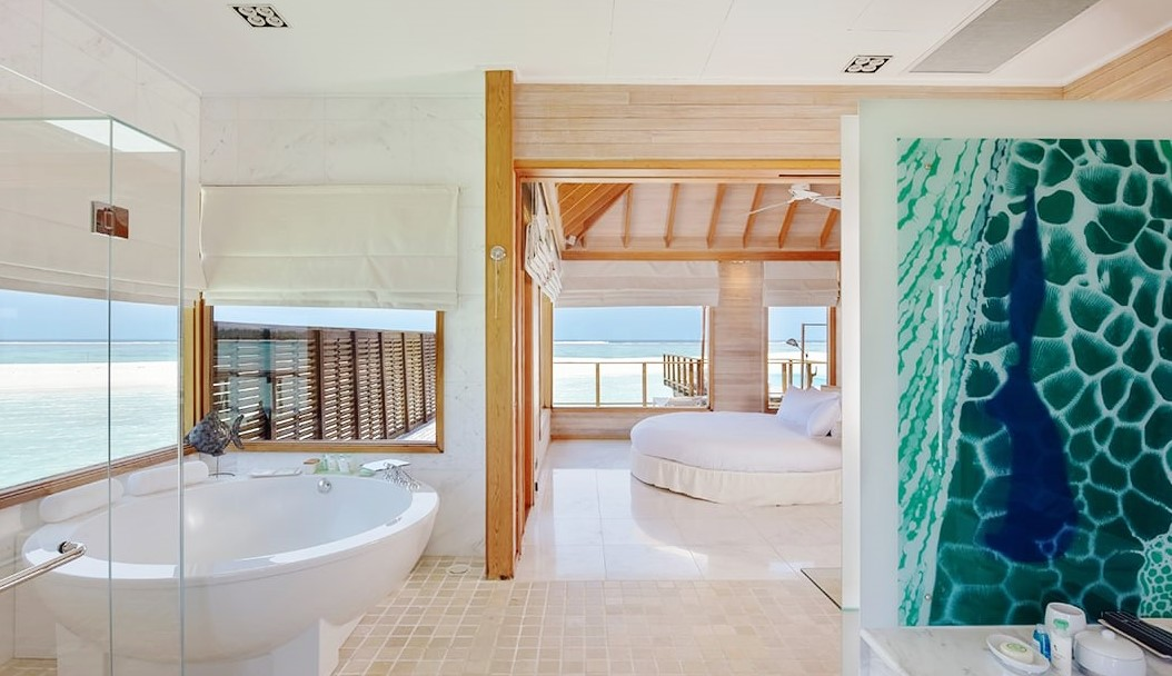 conrad sunset water villa bathrom