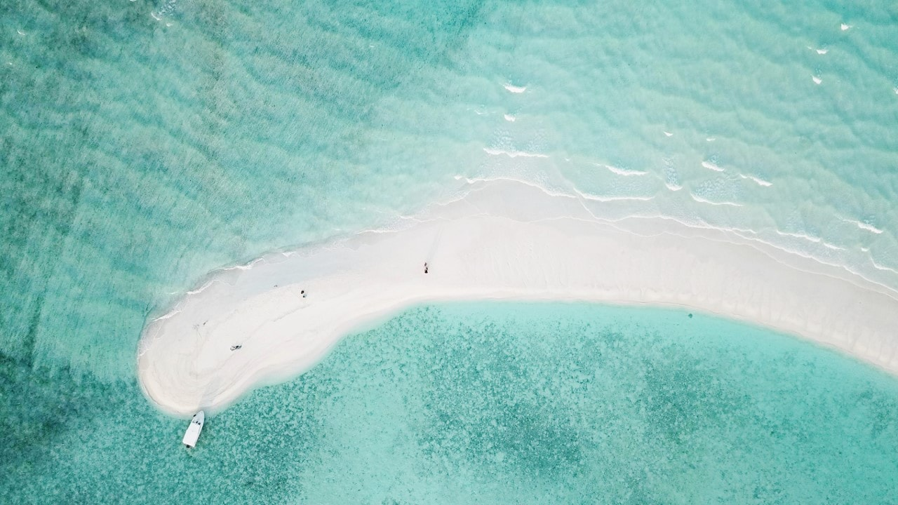white sand aerial view