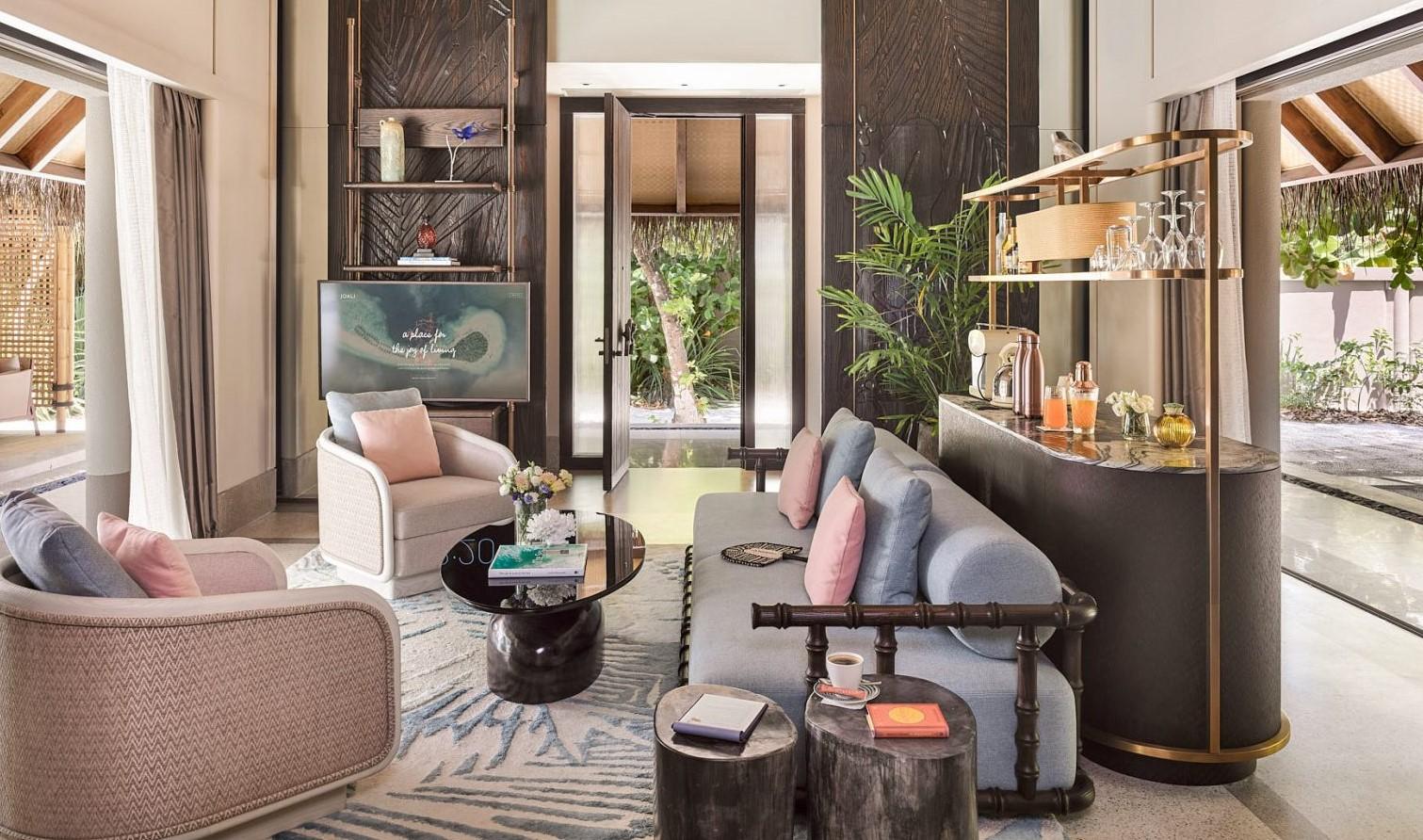 luxury beach villa living area